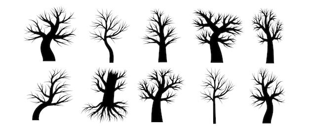 Kolekcja narysowanych sylwetek drzew bez liści i liści. drzewo jest suche i martwe zimą, wiosną i jesienią. ilustracja wektorowa w czerni i bieli.
