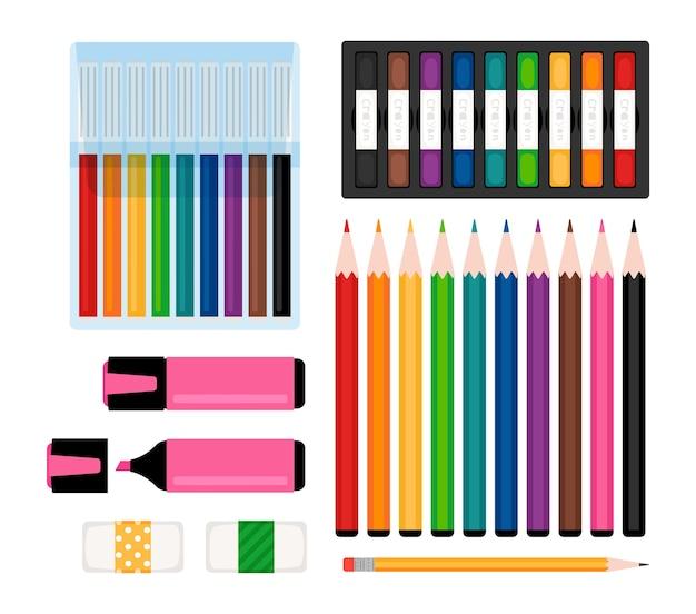 Kolekcja narzędzi artystycznych. markery, kolorowe kredki i gumki do ścierania, pisaki i zakreślacze. ilustracja wektorowa papeterii
