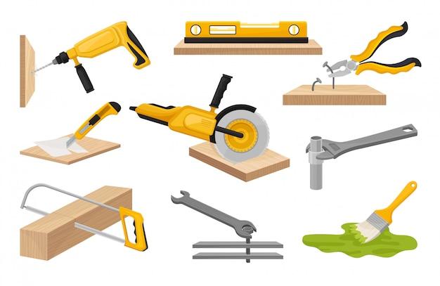 Kolekcja narzędzi budowlanych. ilustracja na białym tle.