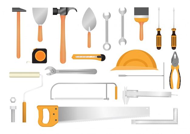 Kolekcja narzędzi budowlanych.
