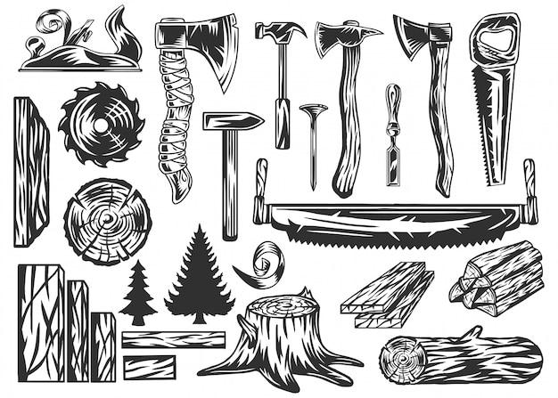 Kolekcja narzędzi i produktów stolarskich.