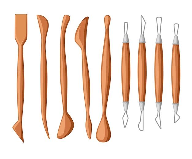 Kolekcja narzędzi rzeźbiarskich. zestaw przyrządów do modelowania z gliny. drewno i materiał metalowy. ilustracja
