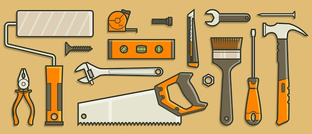 Kolekcja narzędzi w koncepcji płaska konstrukcja.