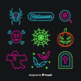 Kolekcja neon element halloween