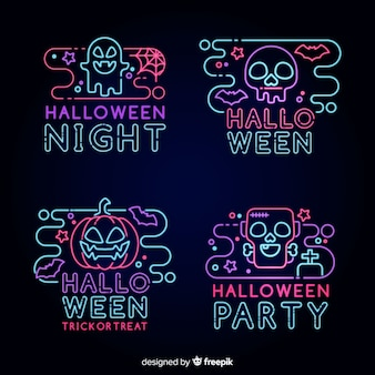 Kolekcja neon element halloween