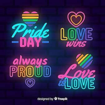 Kolekcja neon znak dumy dnia