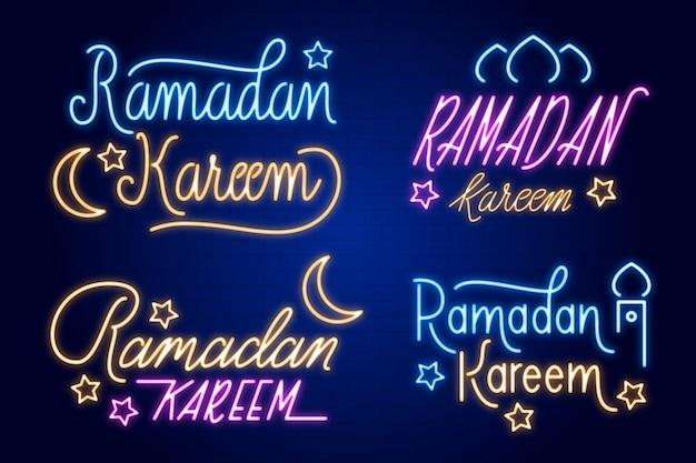 Kolekcja neon znak ramadan napis
