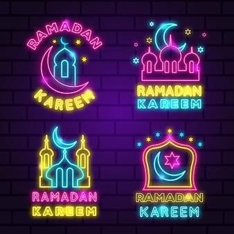 Kolekcja neon znak ramadan