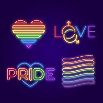 Kolekcja neonów pride day