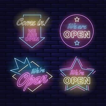 Kolekcja neonów z jesteśmy otwarci