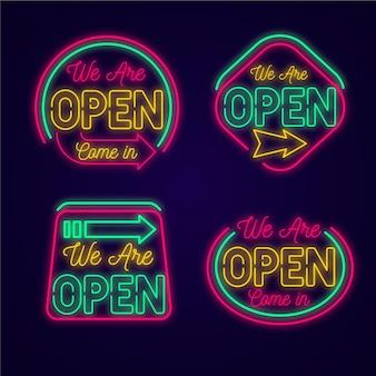Kolekcja neonów z jesteśmy otwartymi znakami