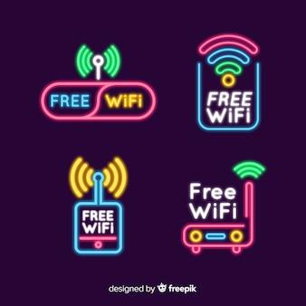 Kolekcja neonowych darmowych wifi znak