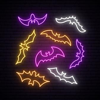 Kolekcja neonowych nietoperzy.