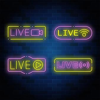 Kolekcja neonowych przycisków na żywo