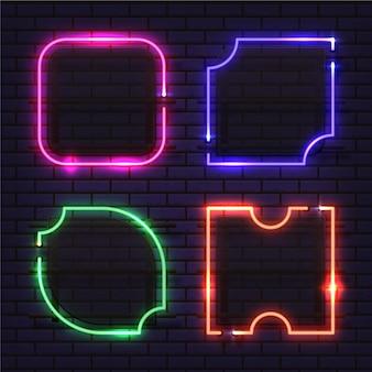 Kolekcja neonowych ramek o różnych kształtach
