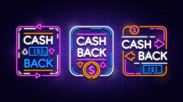 Kolekcja neonowych znaków cashback