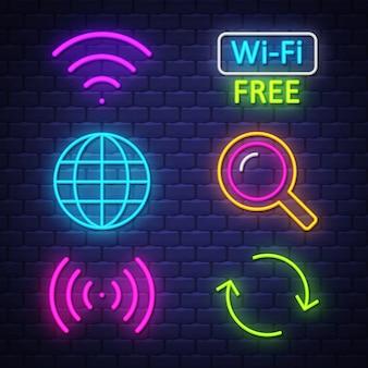 Kolekcja neonowych znaków komputerowych