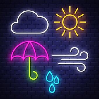 Kolekcja neonowych znaków pogodowych. znaki pogodowe. neony.