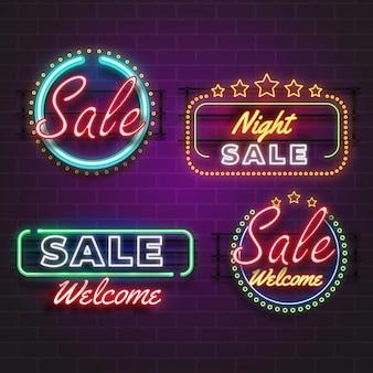 Kolekcja neonowych znaków sprzedaży