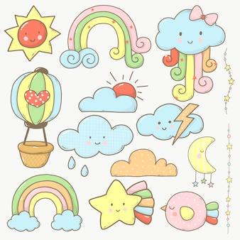 Kolekcja nieba i chmur kreskówka urocza dla dzieci