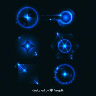 Kolekcja niebieskich efektów świetlnych w technologii