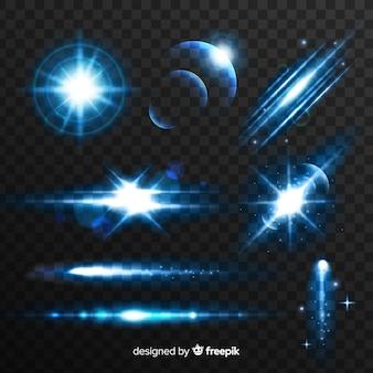 Kolekcja niebieskich efektów świetlnych