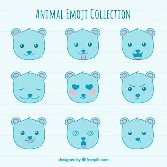 Kolekcja niebieskich emotikony niedźwiedzia