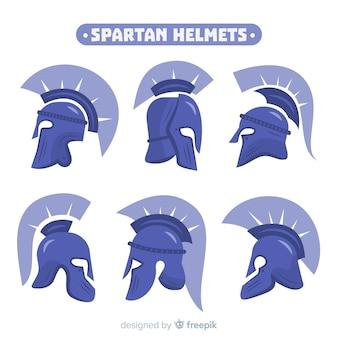 Kolekcja niebieskich hełmów spartan