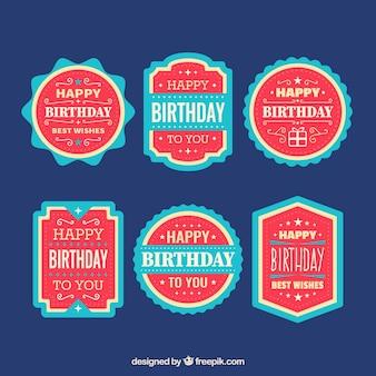 Kolekcja niebieskich i czerwonych naklejek urodziny