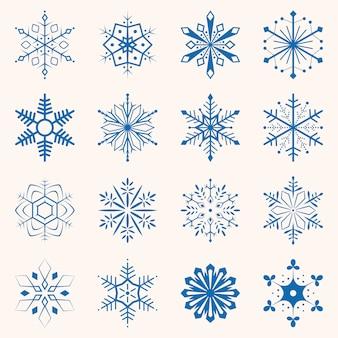 Kolekcja niebieskich płatków śniegu