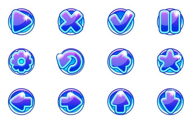 Kolekcja niebieskie kółka zestaw szklanych przycisków dla interfejsu użytkownika