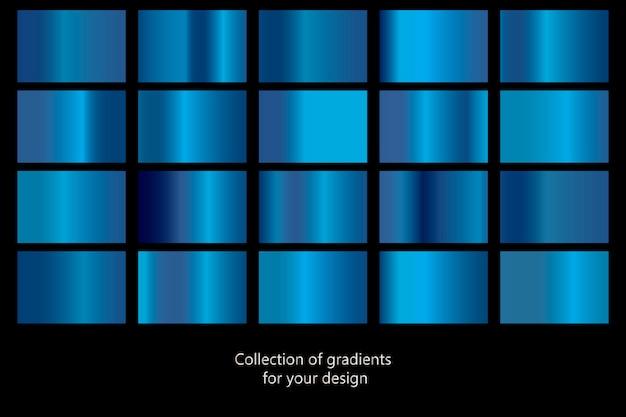 Kolekcja niebieskie tło gradientowe.