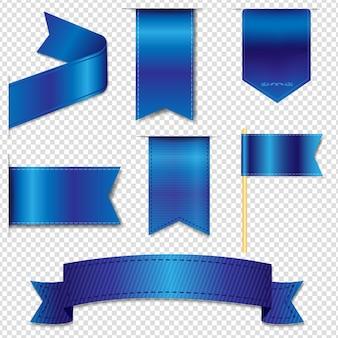Kolekcja niebieskie wstążki internetowe na białym tle