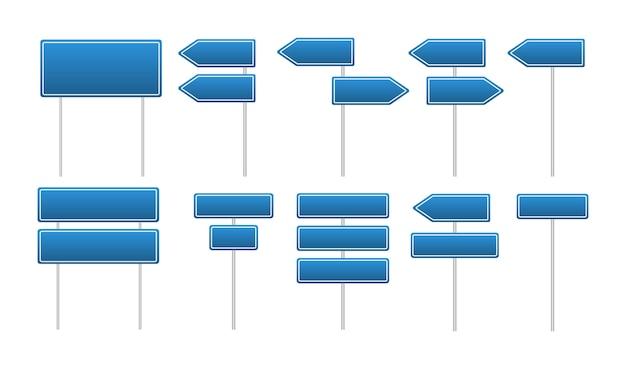 Kolekcja niebieskie znaki drogowe i uliczne.