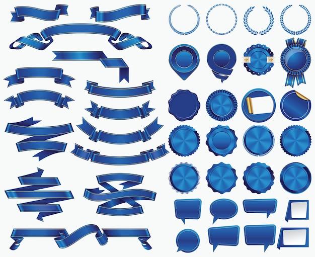 Kolekcja niebieskiej wstążki i naklejki