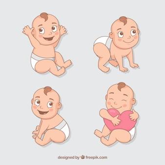 Kolekcja niemowląt w kolekcji w stylu płaski