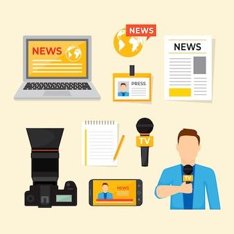 Kolekcja niezbędnych artykułów dla dziennikarzy