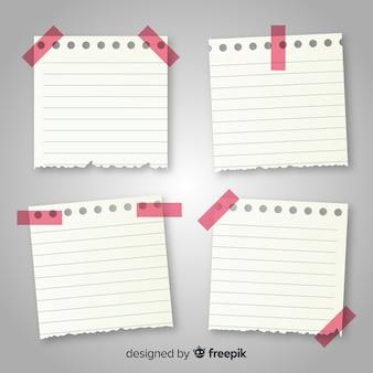 Kolekcja notatek w realistycznym stylu