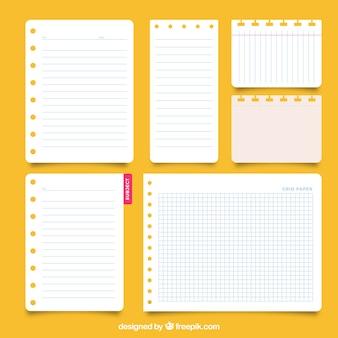 Kolekcja notatnik arkuszy