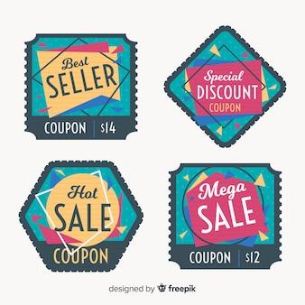 Kolekcja nowoczesnego kuponu sprzedaż etykiet