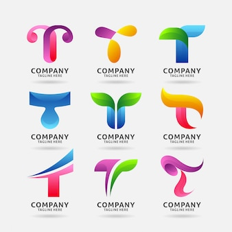 Kolekcja nowoczesnego logo letter t