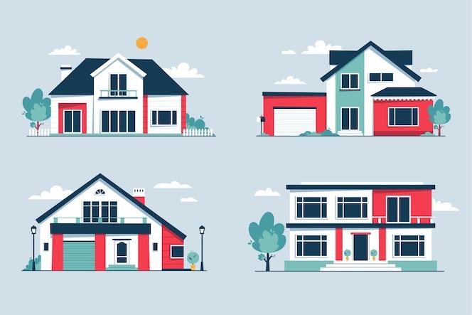 Kolekcja nowoczesnych domów miejskich z przodu