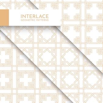 Kolekcja nowoczesnych geometrycznych wzorów z przeplotem