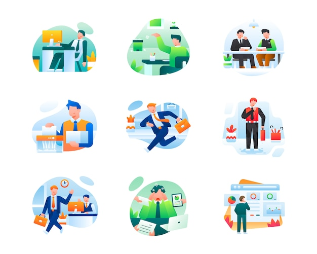Kolekcja nowoczesnych ilustracji biznesowych