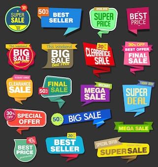 Kolekcja nowoczesnych kolorowych naklejek sprzedażowych