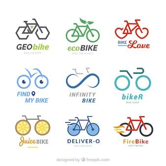 Kolekcja nowoczesnych logo rowerowych