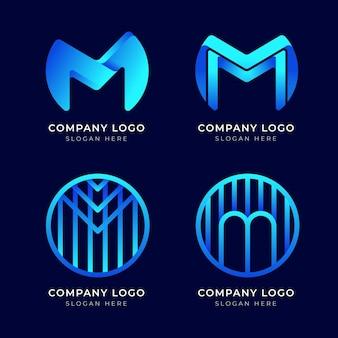 Kolekcja nowoczesnych niebieskich logo m.