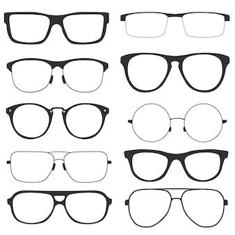 Kolekcja nowoczesnych okularów, na białym tle. okulary w stylu retro z czarnymi oprawkami dla kobiet i mężczyzn. ilustracja wektorowa