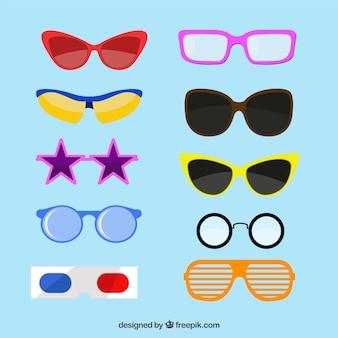 Kolekcja nowoczesnych okulary w stylu płaski