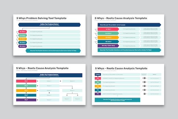 Kolekcja nowoczesnych pięciu whys infographic